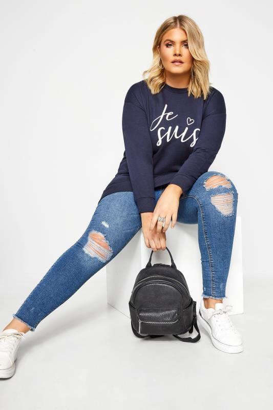 Plus Size Sweatshirts Navy 'Je Suis' Slogan Sweatshirt