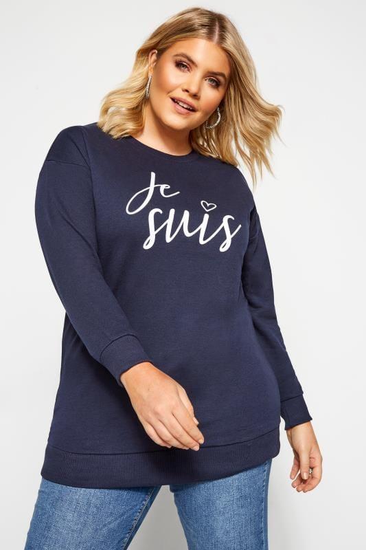 "Sweatshirt mit ""Je suis"" Schriftzug - Dunkelblau"