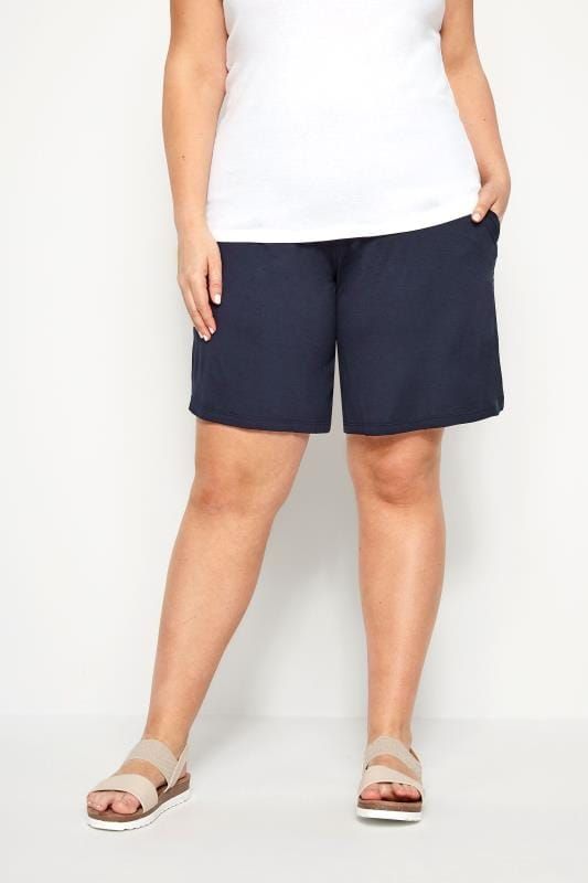 Plus Size Jersey Shorts Navy Jersey Pull On Shorts