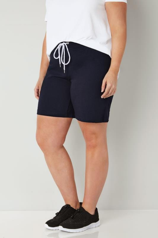 Pantalones cortos confortables Tallas Grandes Pantalones cortos de chandal azul marino