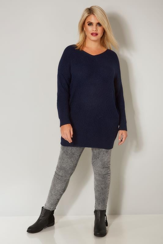 Navy Knitted Jumper With Cross Over Straps