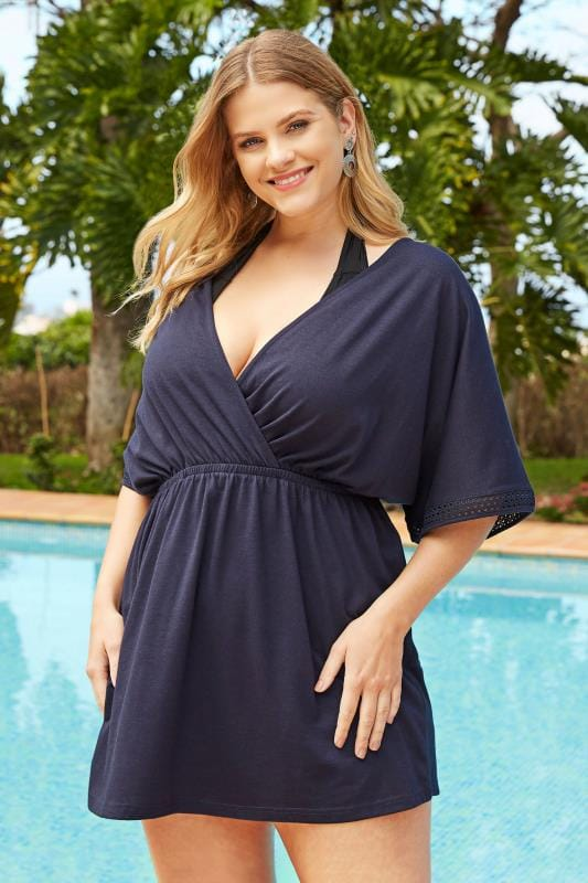 Plus Size Kaftans & Cover Ups Navy Lace Trim Beach Dress