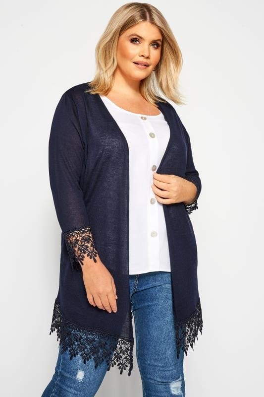 Plus Size Cardigans Navy Lace Trim Cardigan