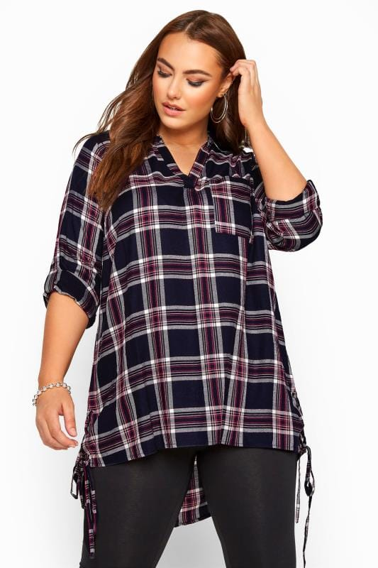 Plus Size Checked Shirts Navy Lace Up Side Check Shirt