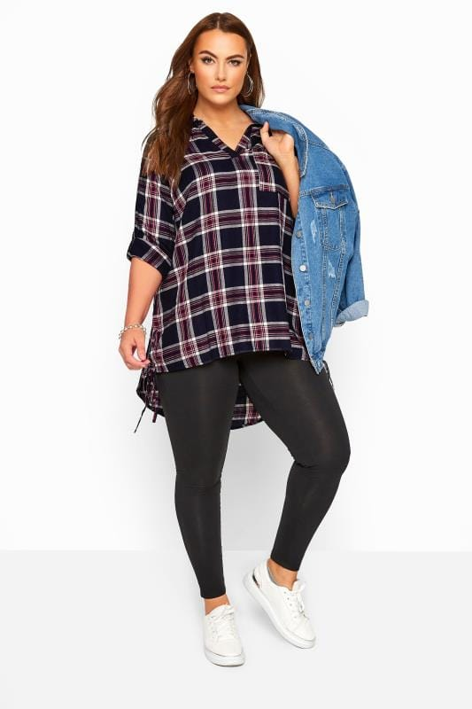 Navy Lace Up Side Check Shirt