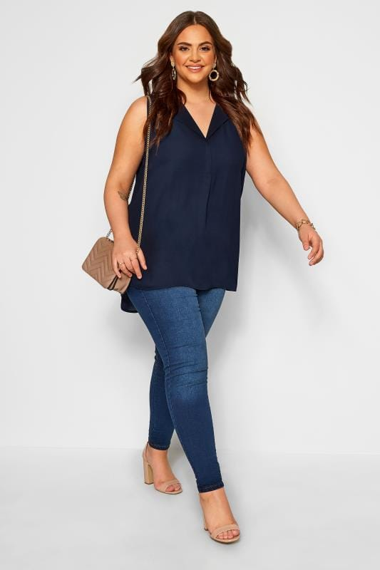 Plus Size Vests & Camis YOURS LONDON Navy Lapel Shell Top