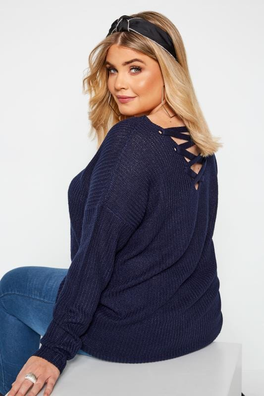 Plus Size Jumpers Navy Lattice Back Jumper