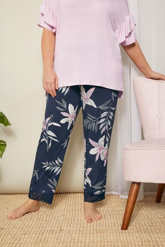Plus Size Loungewear Navy Lily Loungewear Bottoms