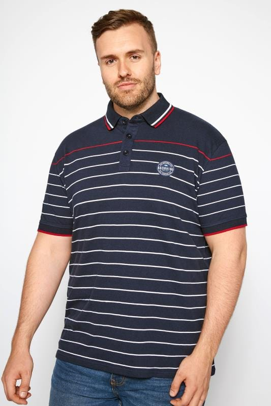 Navy Linear Striped Polo Shirt