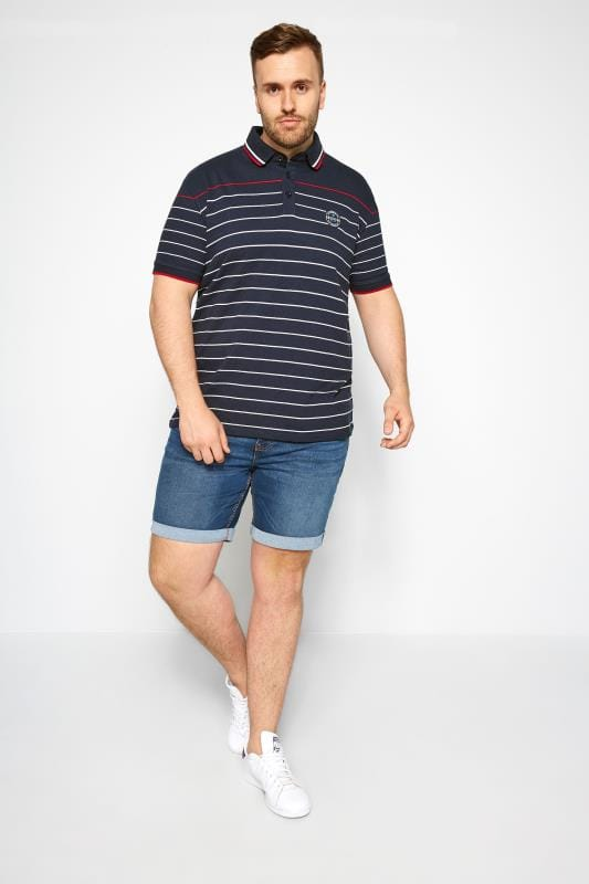 Navy Linear Striped Polo Shirt