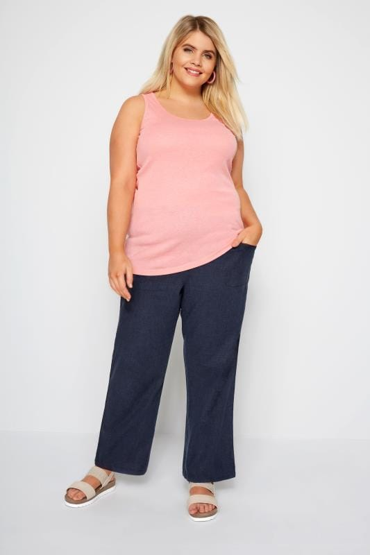 Navy Linen Mix Wide Leg Trousers