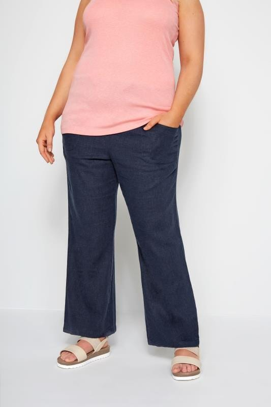 Plus Size Linen Mix Trousers Navy Linen Mix Wide Leg Trousers