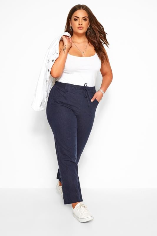 Linen Mix Trousers Navy Linen Mix Wide Leg Trousers