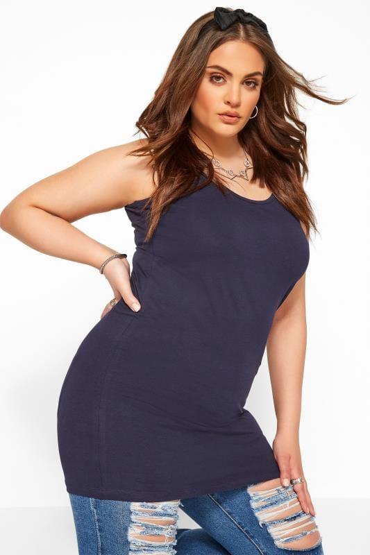 Plus Size Basic T-Shirts & Vests Navy Longline Vest