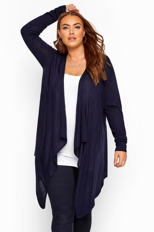 Plus Size Cardigans Navy Longline Waterfall Cardigan