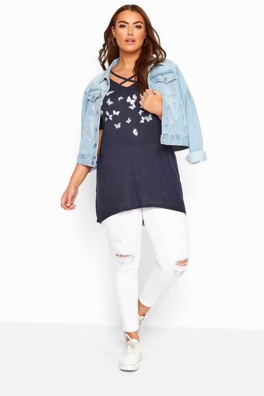 Navy Marl Butterfly Lattice Front Top