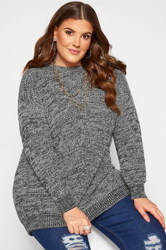 Plus Size Jumpers Navy Marl Chunky Knitted Jumper