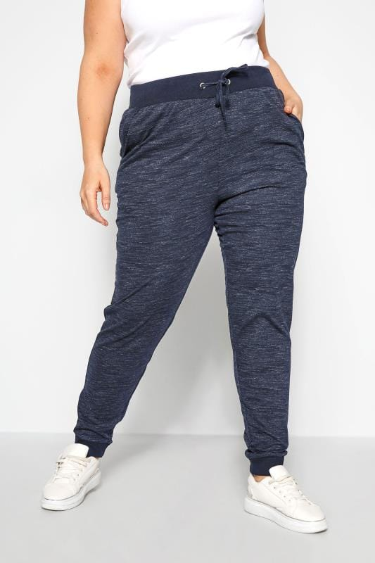 Plus Size Joggers Navy Marl Lightweight Joggers