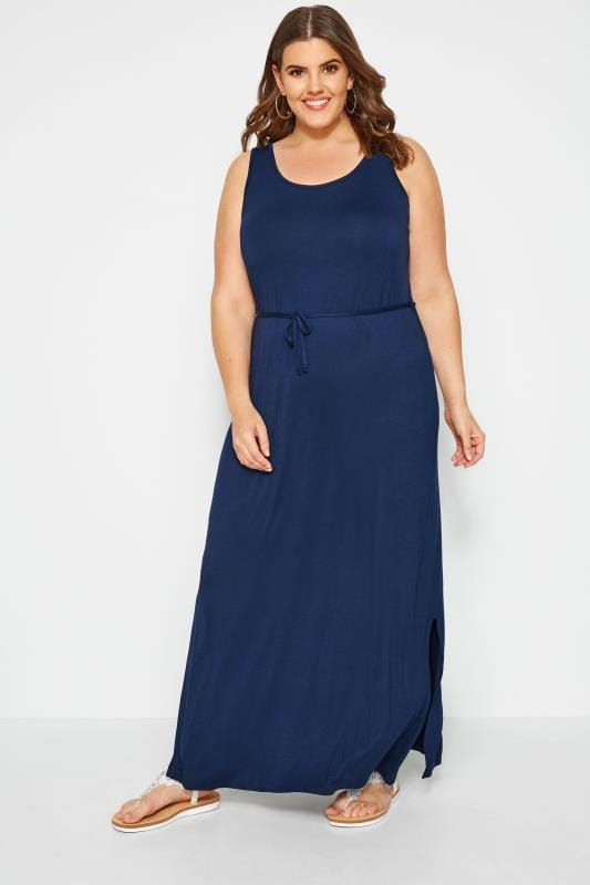 Navy Maxi Dress With Belt