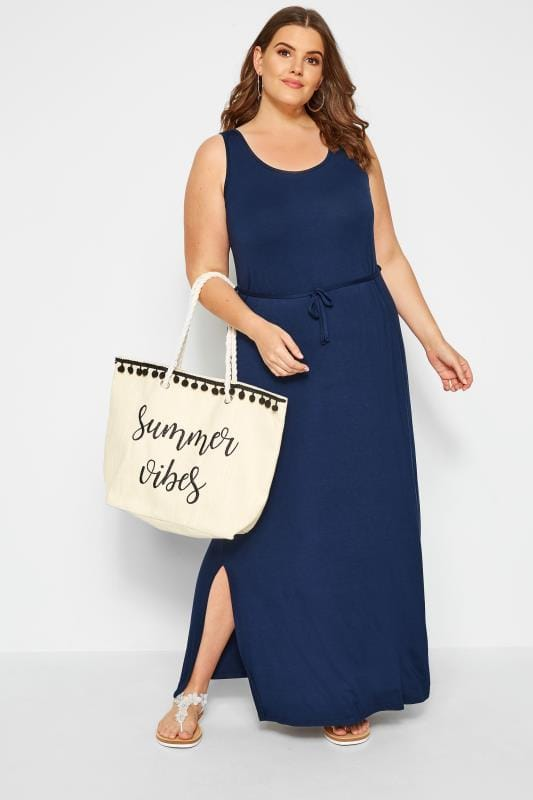 Navy Maxi Dress With Belt