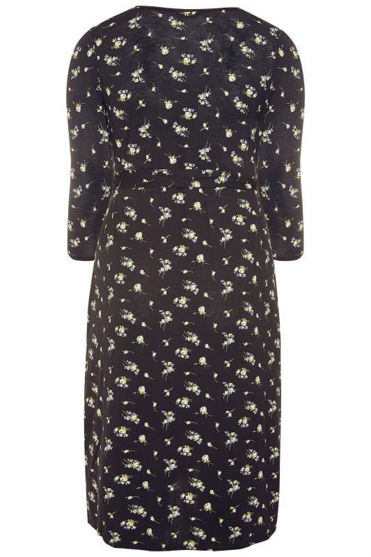 Black Mixed Floral Wrap Dress