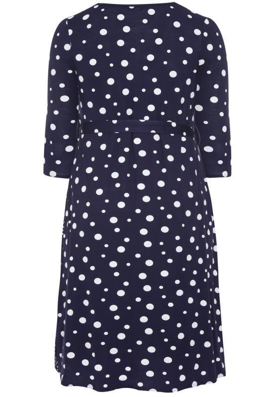 Navy Mixed Polka Dot Wrap Dress