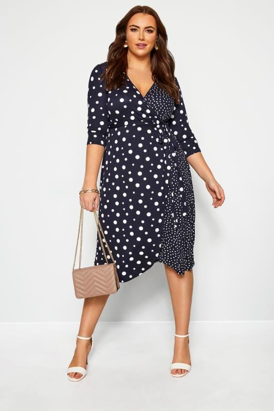 Plus Size Sleeved Dresses Navy Mixed Polka Dot Wrap Dress