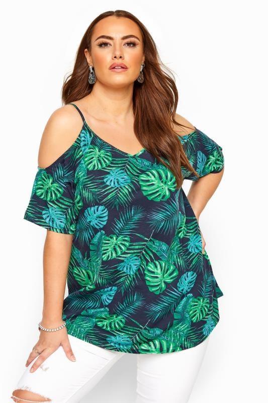 Plus Size Bardot & Cold Shoulder Tops Navy Palm Leaf Cold Shoulder Top