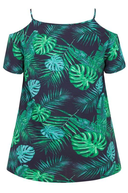 Navy Palm Leaf Cold Shoulder Top