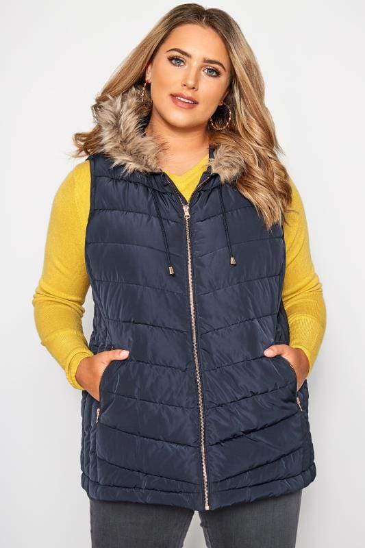Plus Size Gilets Navy Panelled Gilet With Faux Fur Trim Hood