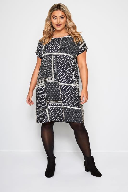 Plus Size Swing Dresses Navy Patchwork Print Shift Dress