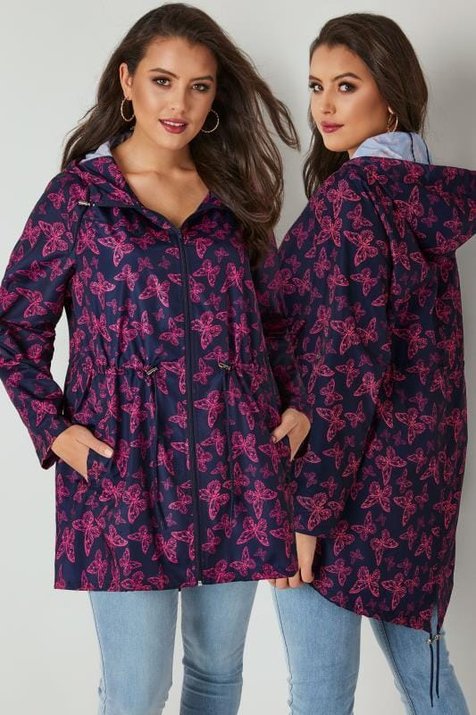 Navy & Pink Butterfly Pocket Parka With Hood