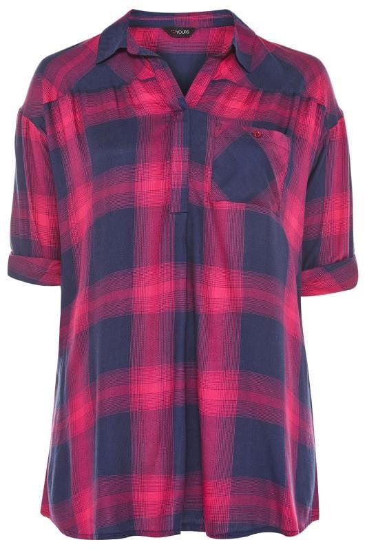 Camisa de cuadros azules hombros caídos | Yours Clothing