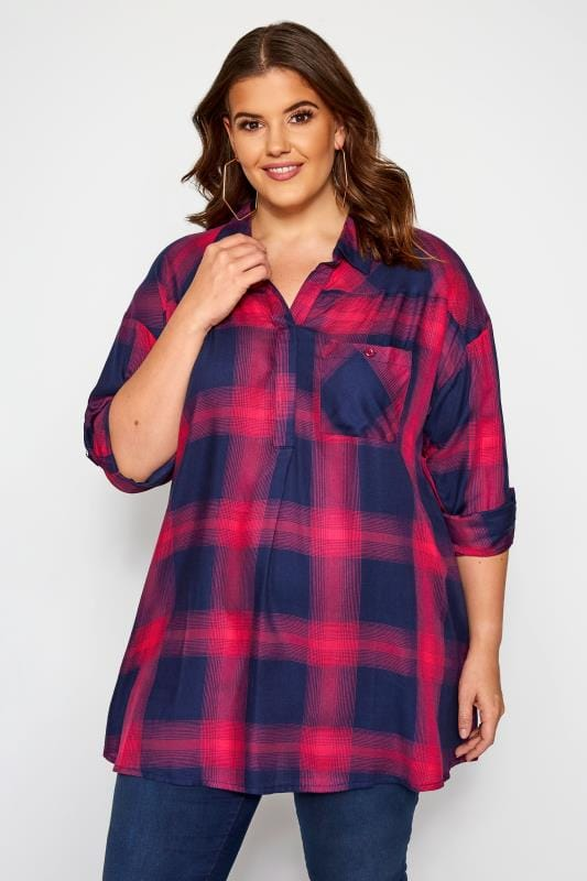 Plus Size Shirts Navy & Pink Check Drop Shoulder Shirt