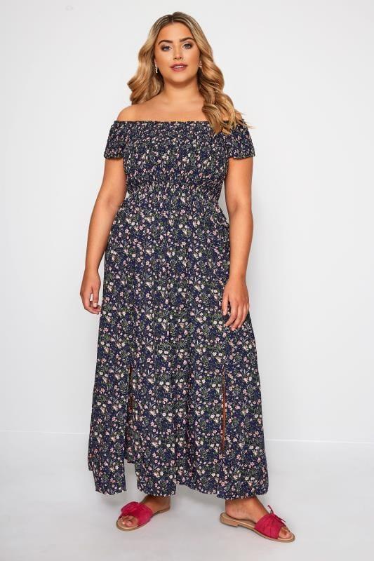 Navy & Pink Ditsy Floral Maxi Dress