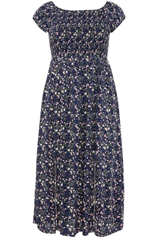Navy & Pink Ditsy Floral Shirred Maxi Dress