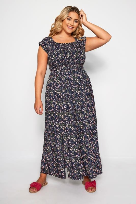 Plus Size Maxi Dresses Navy & Pink Ditsy Floral Maxi Dress