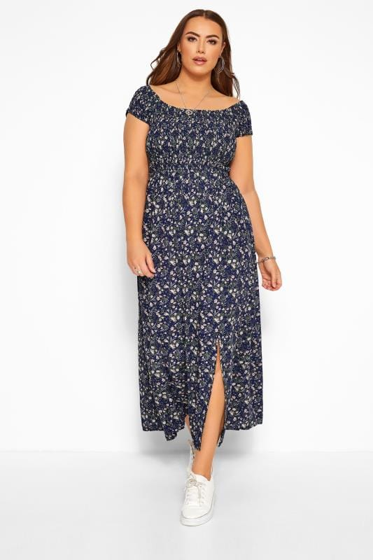 Plus-Größen Maxi Dresses Navy & Pink Ditsy Floral Shirred Maxi Dress