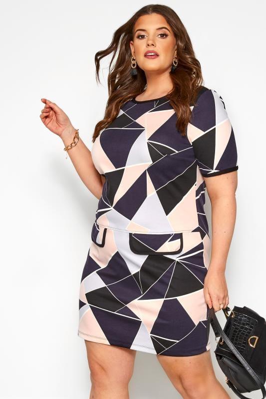 Plus Size Casual Dresses Navy & Pink Geometric Print Mock Pocket Tunic