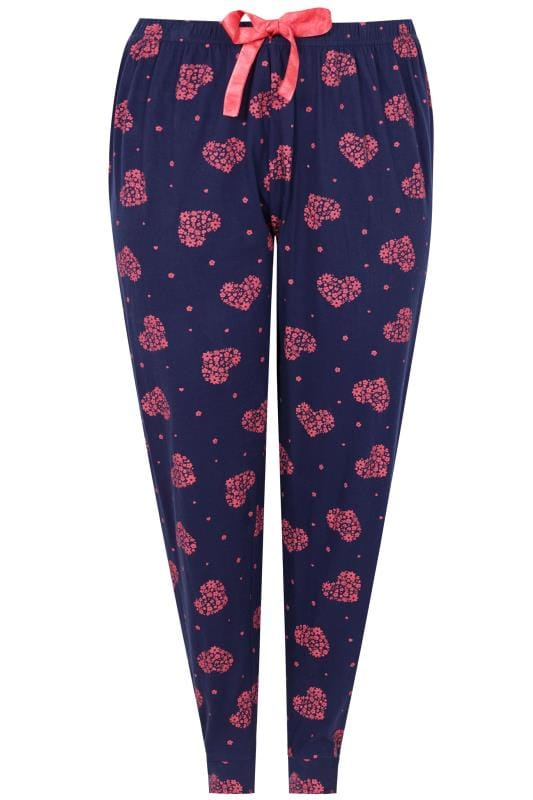 Navy & Pink Heart Print Pyjama Bottoms