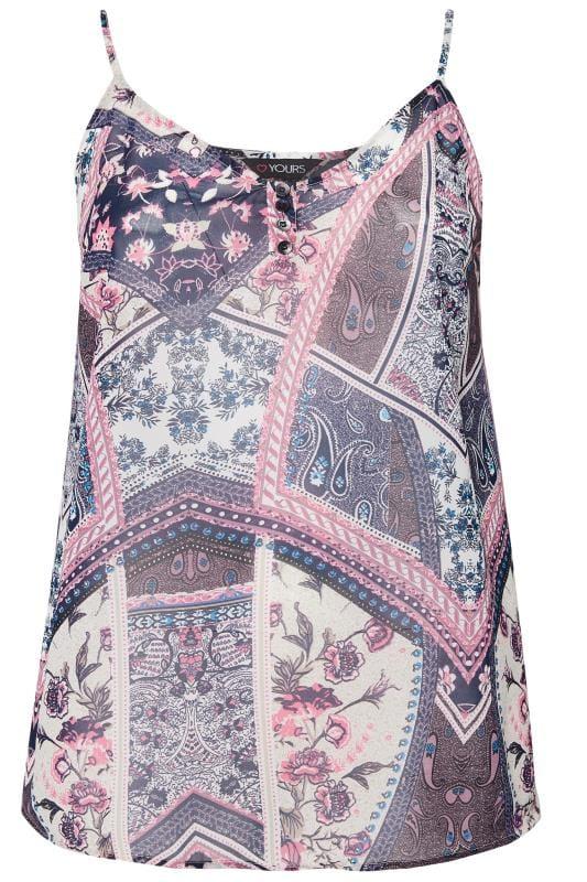 Navy & Pink Mixed Print Button Cami