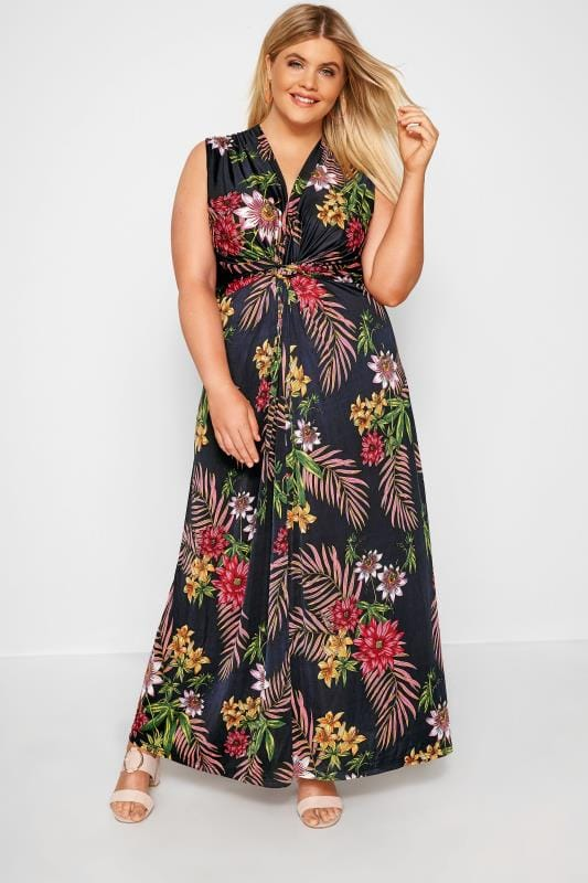 Plus Size Maxi Dresses Navy & Pink Tropical Knot Front Maxi Dress