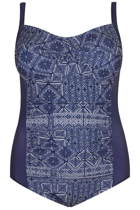 Navy Printed Ruched Swimsuit