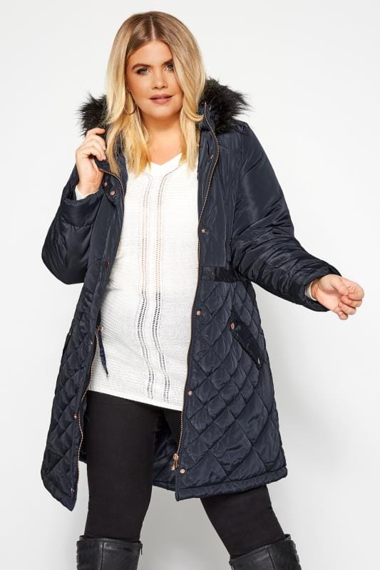 Plus Size Parka Coats Navy Quilted Parka Coat