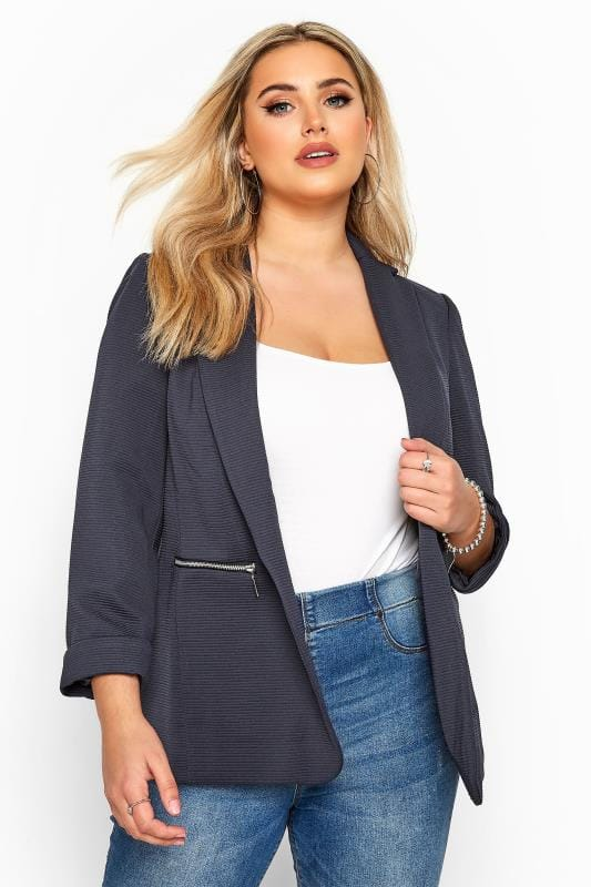 Navy Ribbed Zip Pocket Blazer Jacket