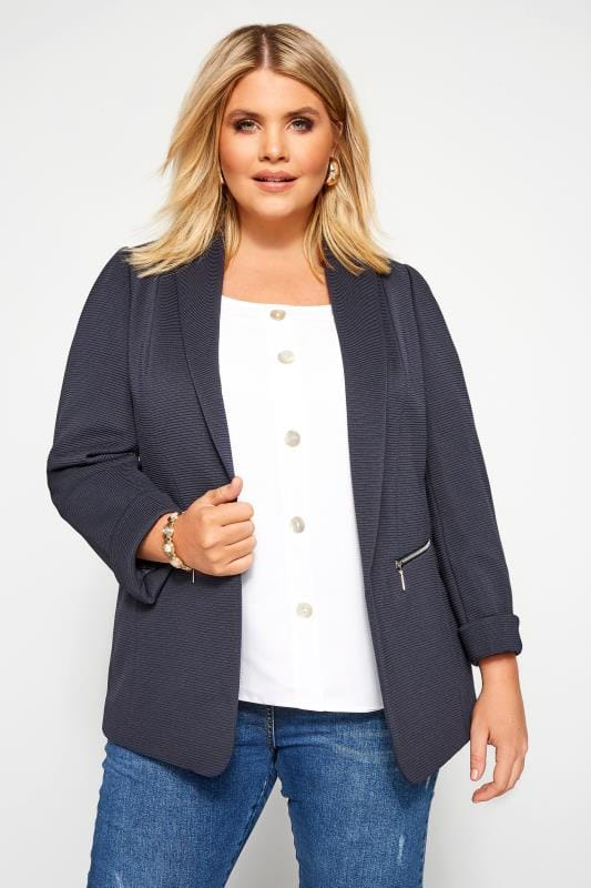 Plus Size Blazers Navy Ribbed Zip Pocket Blazer Jacket