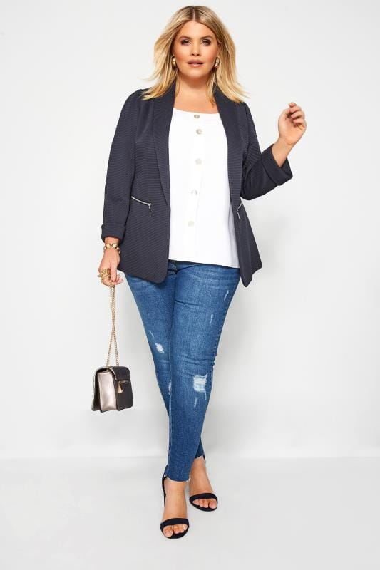 Plus Size Blazers Navy Ribbed Zip Pocket Blazer Jacket