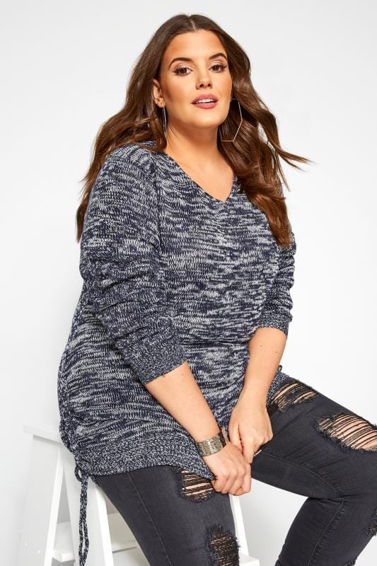 Plus Size Jumpers Navy Ruched Hem Lace Jumper