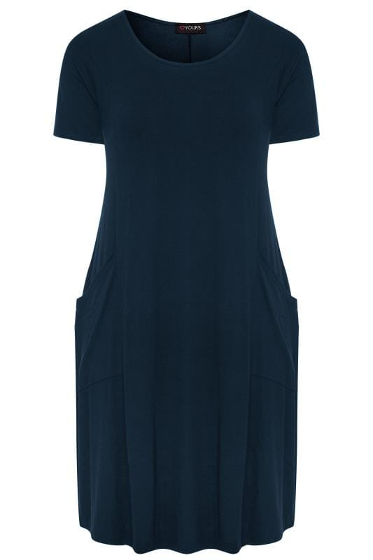 Navy Short Sleeved Drape Pocket Dress