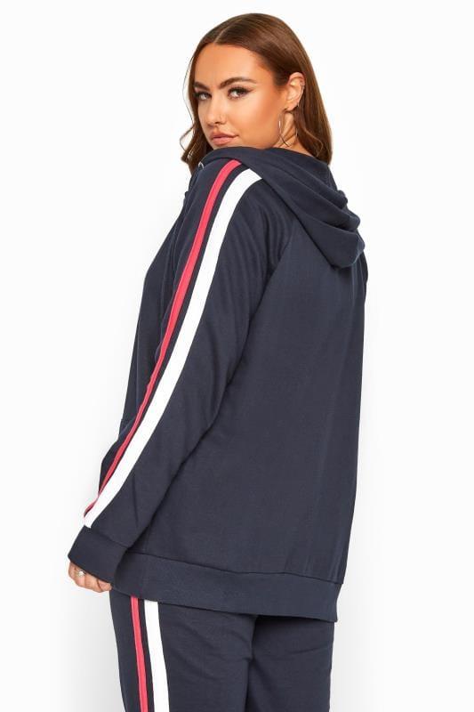 Navy Side Stripe Hoodie
